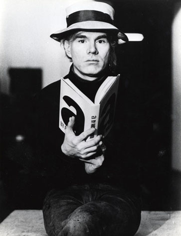 Andy Warhol promotional photo for his book A, 1970s