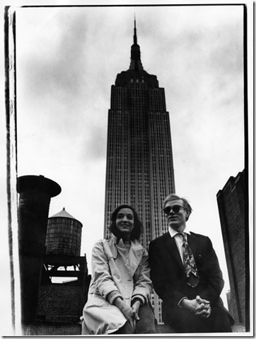 Marisol and Andy Warhol in front of the Empire State Building (1965)